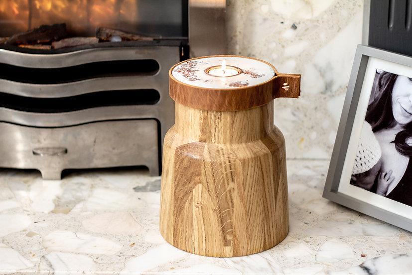 Elements: Human Cremation Urn Handcrafted in Oak+Jesmonite