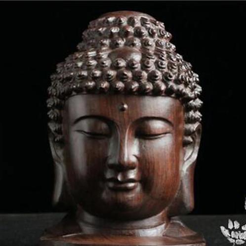 Small Buddha Statue Wood Figurine Mahogany India Buddha Head Statue