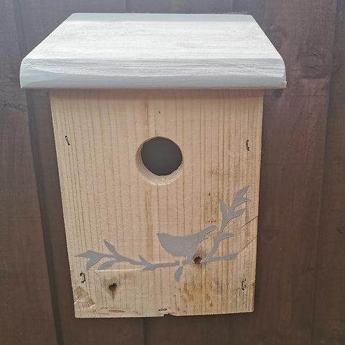 Handmade Reclaimed Wood Bird Box / Light Grey