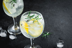 Alcohol drink (gin tonic cocktail) with