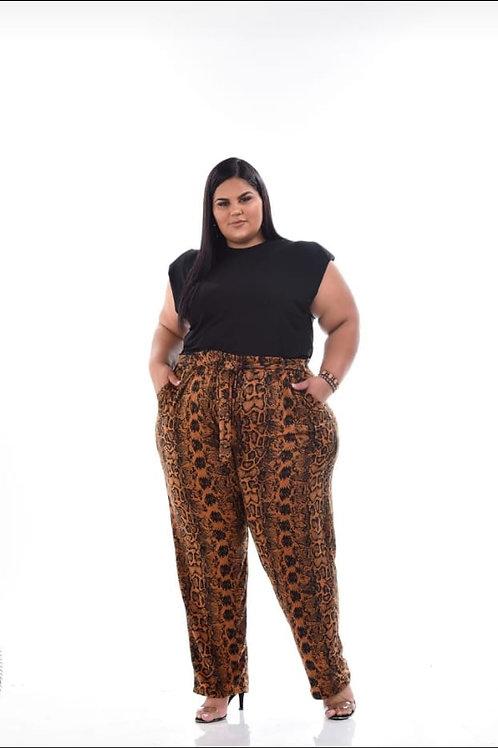 Pantalona  viscolycra reta bolso e laço
