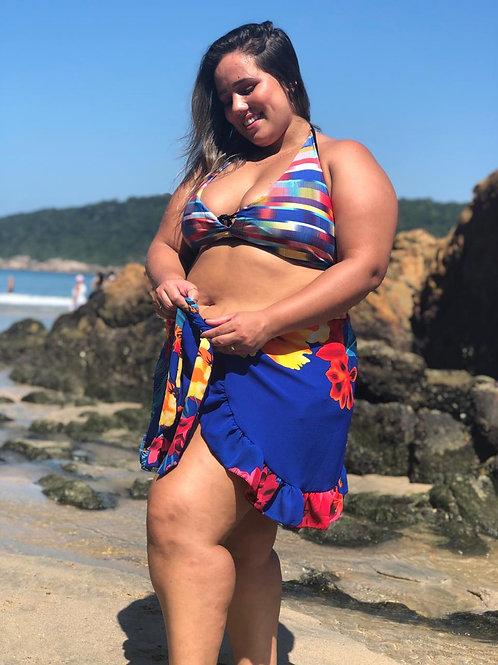 Saída de praia em lenço de crepe com babados