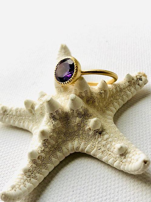 Ring -Amethyst feinvergoldet