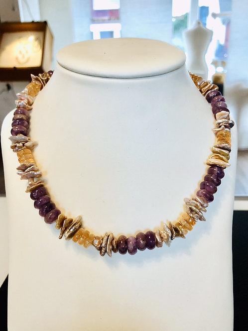 Collier Amethyst / Citrin / Keshi-Perlen