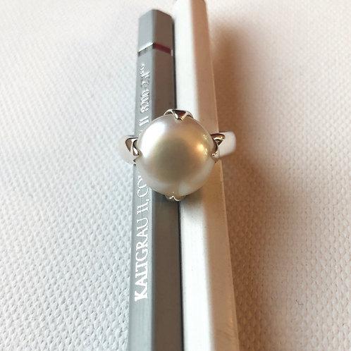 Ring Süßwasser-Butonperle weiß