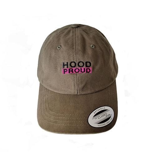 ''HOOD PROUD''STRAPBACK CAP [ブラウン]