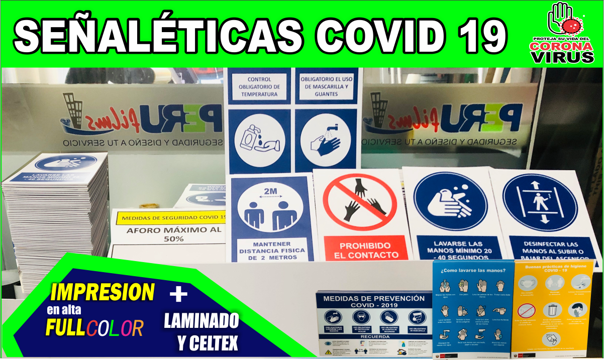 LETREROS COVID , SEÑALES , STICKERS LIMA PERU