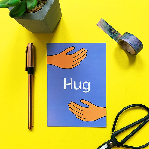 Hug Postcard | Sending love | friendship | positive | illustration Postcard