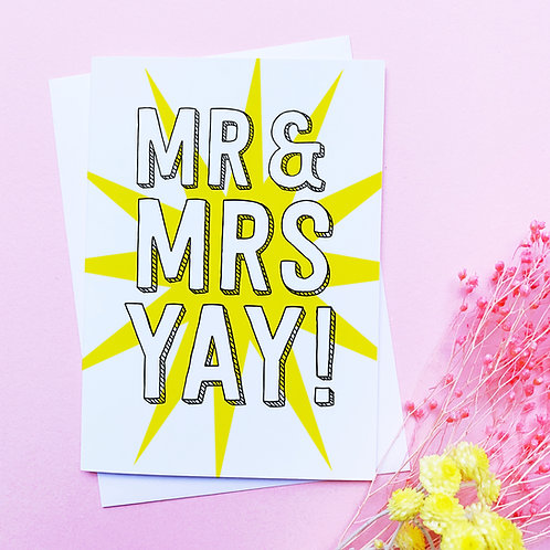 Mr & Mrs | Congratulations card | married | partnership | civil partnership