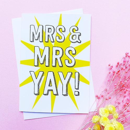 Mrs & Mrs | Congratulations card | married | partnership | civil partnership