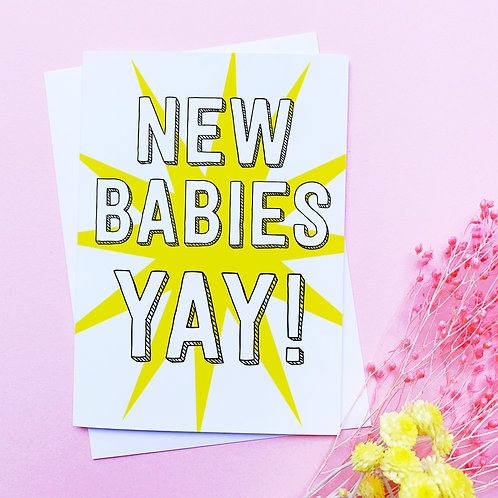 New Babies Card | Congratulations card | twins | triplets