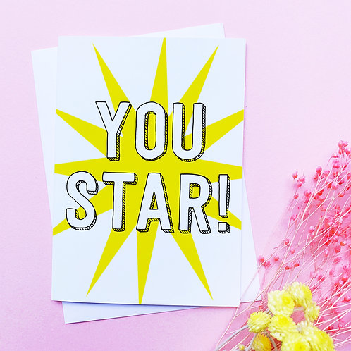 You Star Card | Star Card | Friends Card | Thank You Card | Just to say | Thanks