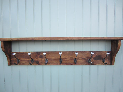 Rustic pine hat and coat rack hand waxed with antique finish ceramic acorn hooks