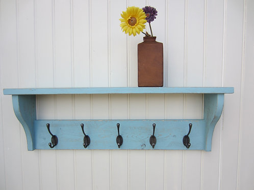 Reclaimed wood sea urchin blue wash finish hat/ coat rack with antique finish Vi