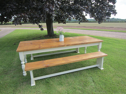 'Clumber' Farmhouse Table 6ft x 3 ft table and 2 benches