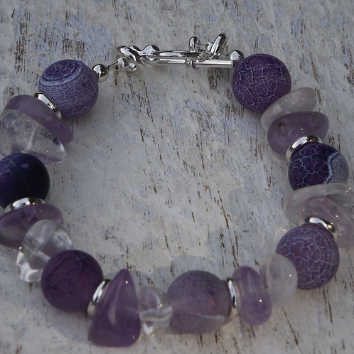 amethyst with agate bracelet