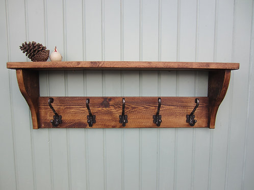 Rustic pine hat and coat rack hand waxed with antique finish twisted hook