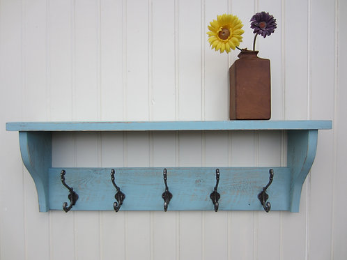 Reclaimed wood sea urchin blue wash finish hat/ coat rack with antique finish or