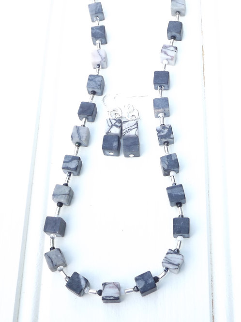 jasper cube necklace and earrings