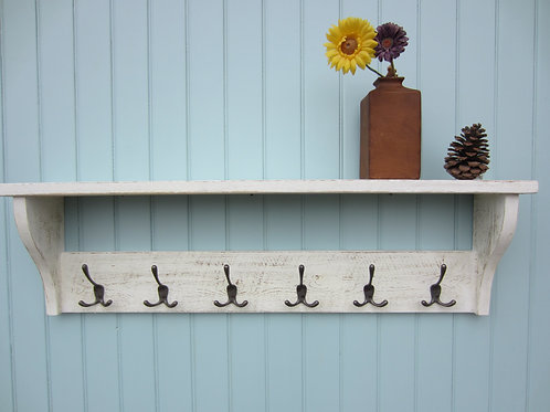 Reclaimed wood white wash finish hat/ coat rack with antique finish triple hooks