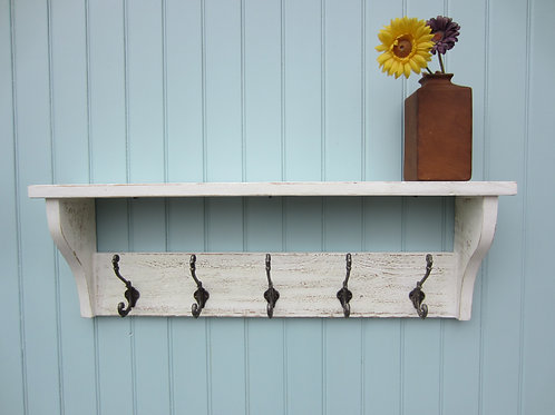 Reclaimed wood sea white wash finish hat/ coat rack with antique finish or
