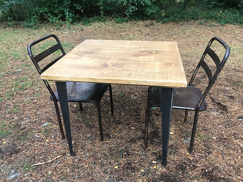 Modern Rustic Square Table 3ft x 3ft tapered legs with 2 x chairs