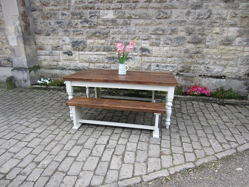 'Thorseby' Farmhouse Table Plank top  6ft x 3 ft table and 2 benches
