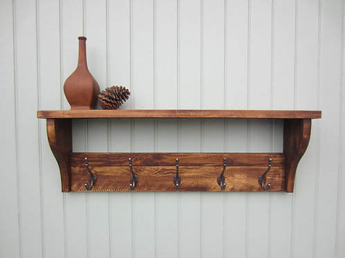 Rustic pine hat and coat rack hand waxed with antique finish acorn hooks