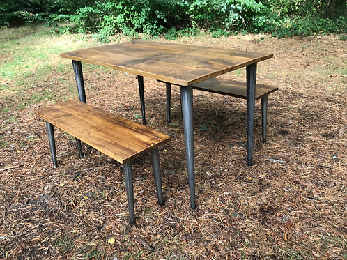 Modern Rustic Square Table 4ft x 3ft with Conicle legs and 2 Benches