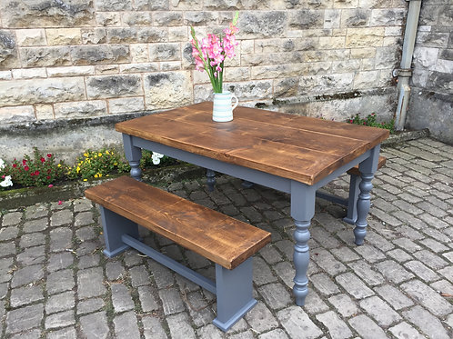 'Thoresby' Farmhouse Table Plank top  5ft x 3 ft table and 2 benches