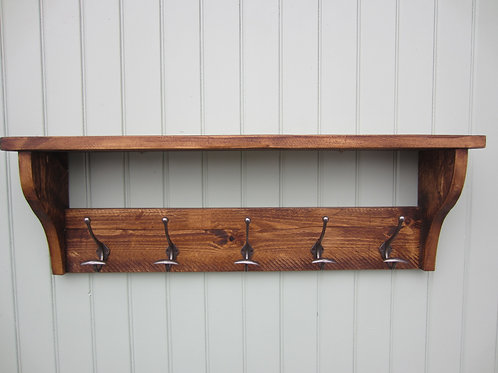 Rustic pine hat and coat rack hand waxed with antique finish bowler hooks