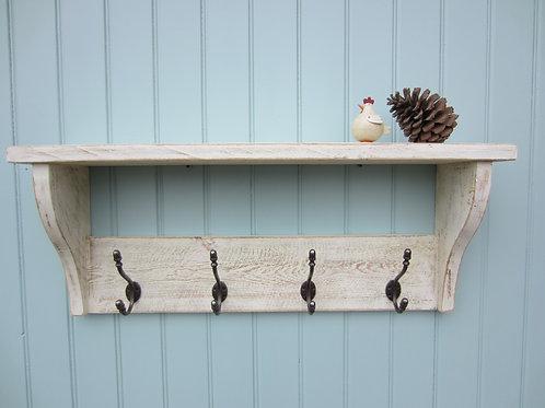 Reclaimed wood white wash finish hat/ coat rack with antique finish acorn hooks