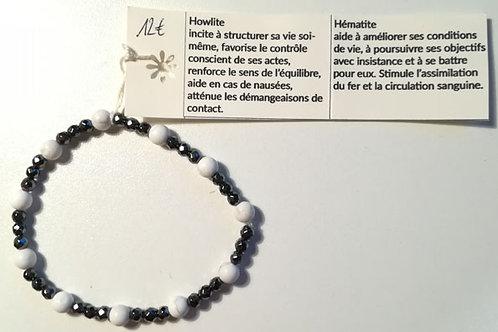 Bracelet HOWLITE et HEMATITE