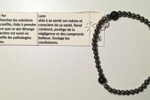 Bracelet PYRITE de Fer et LAVE