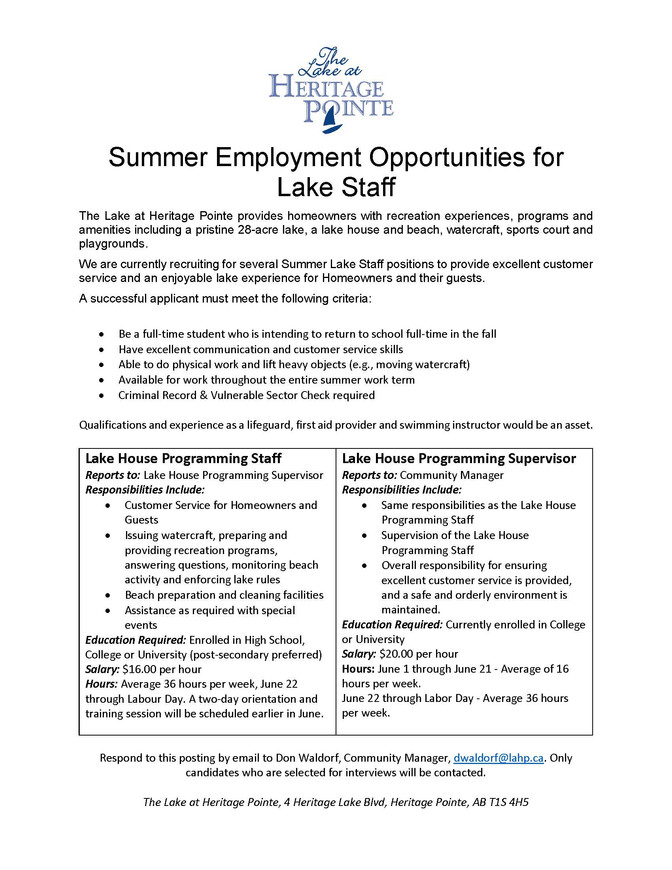 Lake House Summer Jobs!