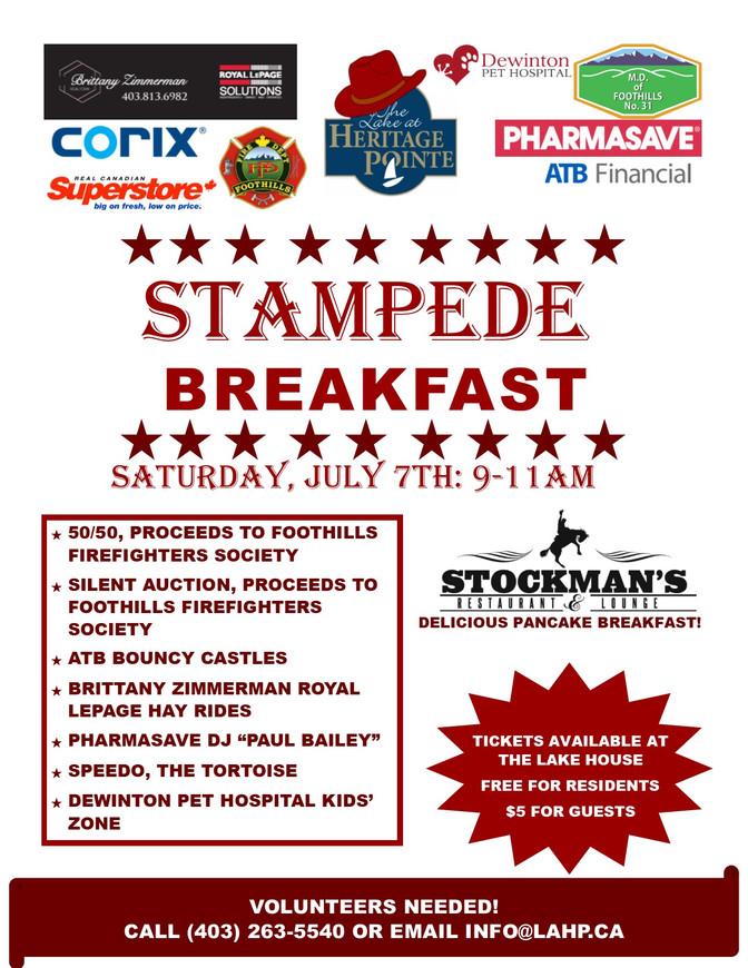 Stampede Breakfast July 7 from 9:00am - 11:00am