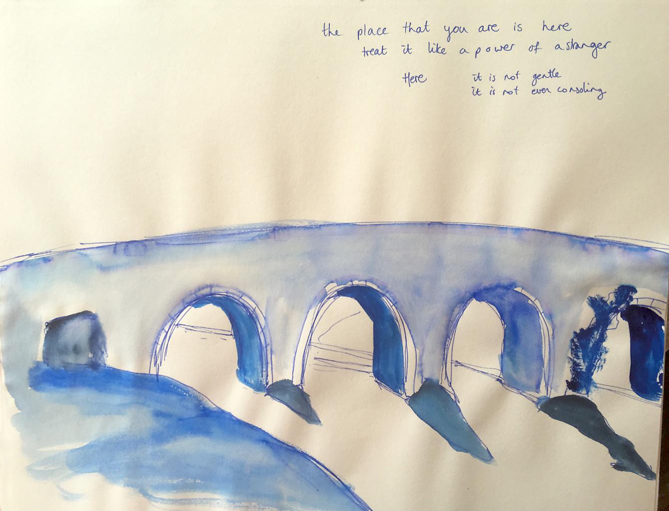 bridge watercolor soft borders sketch