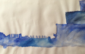 soft borders of northern ireland bleu watercolor sketch