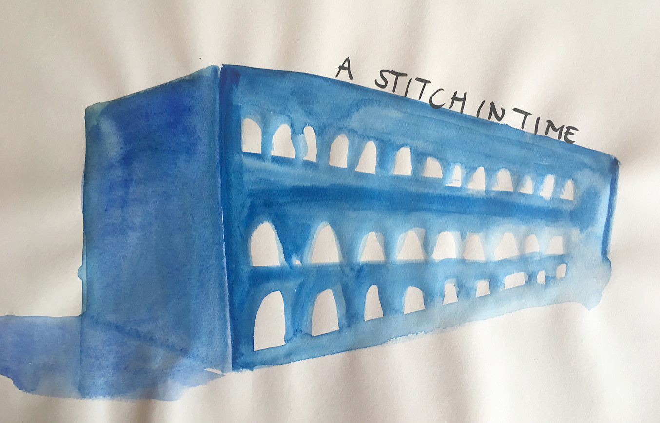a stitch in time textile factory Derry watercolor sketch