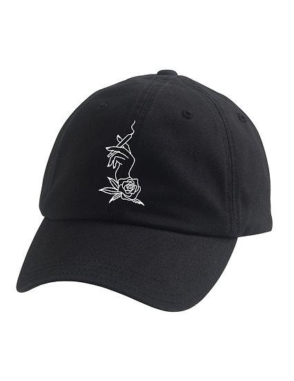 black hat with white logo
