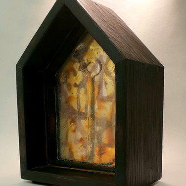 Together ii, layered glass in wooden frame, 12cm x 18cm x 8cm deep