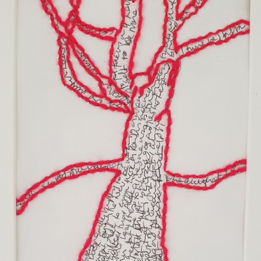 Tree detail, stitched wool on paper, Garden Project May 2020