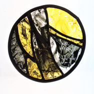 Ebb, stained glass panel, 30cm dia.