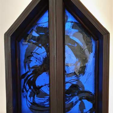 River i & ii, layered, painted and sandblasted glass in wooden frames,15cm x 45cm x 15cm deep