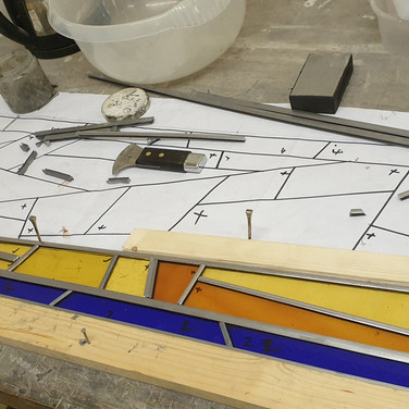 15. Sunbeam door panel under construction