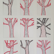 Tree, stitched wool on paper, Garden Project, May 2020
