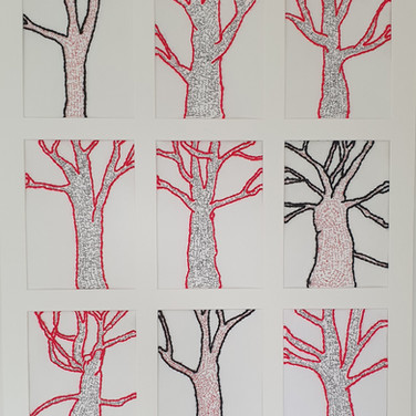 Tree- stitiched wool on paper Garden  Project May 2020