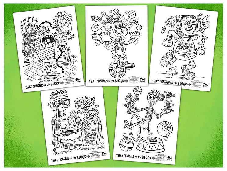 Five Coloring Pages Green Background.jpg