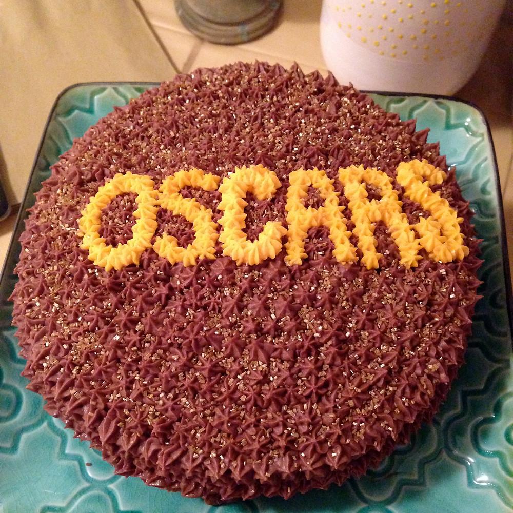 Oscar Cake - vanilla cake with chocolate buttercream frosting