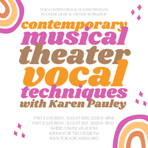 Thank for attending the Contemporary Musical Theater Vocal Workshop! This event has concluded.
